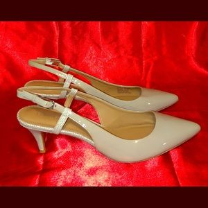 Calvin Klein Taupe Patent Leather Kitten Heels